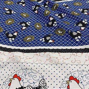 Tecido Oxford Estampado 1,40x1,00m Galinha no Ninho Azul