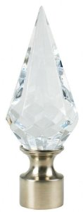 Ponteira Diamante Cristal Base Aço Escovado-28mm