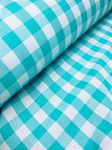 Tecido Xadrez Poliéster Azul Tiffany