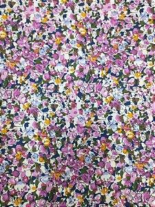 Tricoline Estampada floral muti cor 100% Algodão