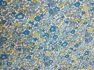 Tricoline Estampada Flores fundo azul 100% Algodão