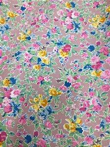 Tricoline Estampada floral rosa 100% Algodão