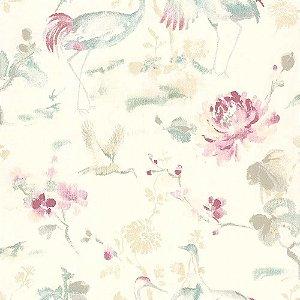 Papel De Parede Rosa Vinilico Garden SZ003034