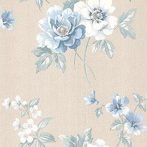 Papel De Parede Cinza com Azul Vinilico Garden SZ002757