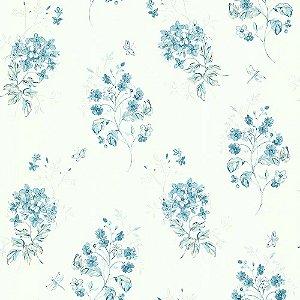 Papel De Parede Azul com Branco Vinilico Garden SZ002704