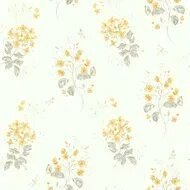 Papel De Parede Branco com Amarelo Vinilico Garden SZ002703