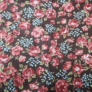 Tricoline Marrom florido