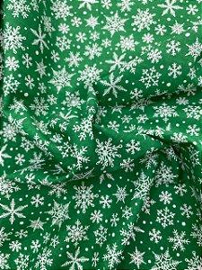 Tricoline Verde com Floquinhos de neve