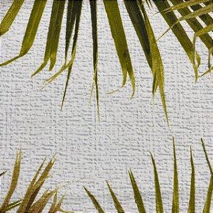 Tecido Riviera Impermeabilizado Fundo Branco com Folhas