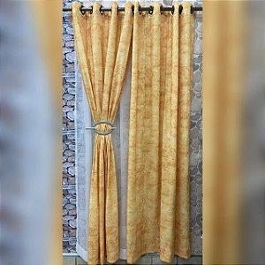 Cortina Amarela de Cetim Amassado com forro Branco