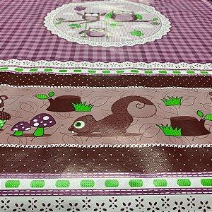 Toalha de Mesa Plástica Térmica Corujinhas Roxa 1,40x1,00m Cozinha Decorativa