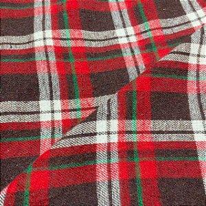 Tecido Flanela Xadrez Vermelho e Verde 1,47x1,00m para Roupas