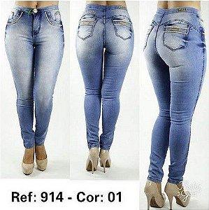 Kit 3 Calças Jeans Feminina Cintura Alta Premium Luxo - Atacado - R  76 bfaa88049f4