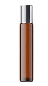 Frasco Roll-on Vidro Âmbar 10ml - Tampa Prata ou Dourada