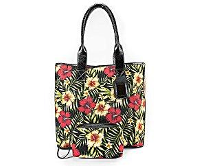 c5d141f0d2 Bolsa Sacola Arenella em Tecido e Couro Legítimo Floral com Necessaire