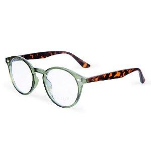 Armação para óculos de grau redondo - Jequitibá - Verde/tartaruga