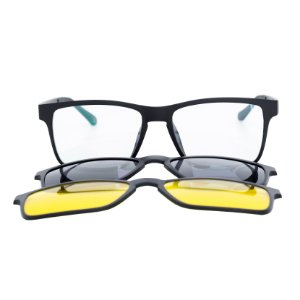 Armação para óculos de grau clip on retangular - Santos - 3 Lentes