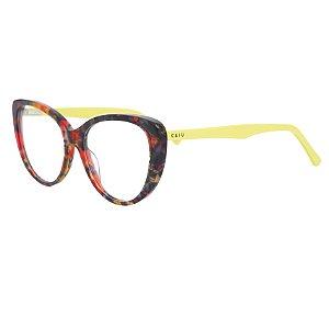 Armação para óculos de grau gatinho - Tropicália - Vermelho/Amarelo