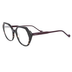 Armação para óculos de grau hexagonal - Vitória-Régia - Vinho/Tartaruga