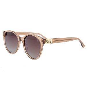 Óculos de sol redondo - Ipanema - Nude cristal