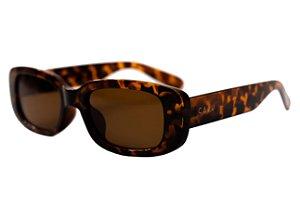 Óculos de sol retrô retangular - Urucum - Tartaruga