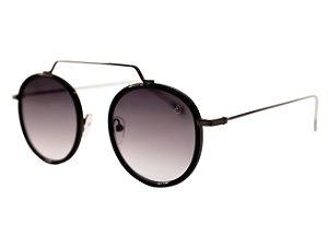 Óculos de sol redondo - Gramado  - Preto/degradê azul