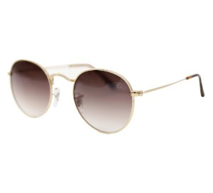 Óculos de sol redondo - Trindade - Dourado/Degradê marrom