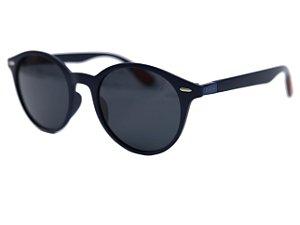 Óculos de sol redondo - Café - Azul marinho