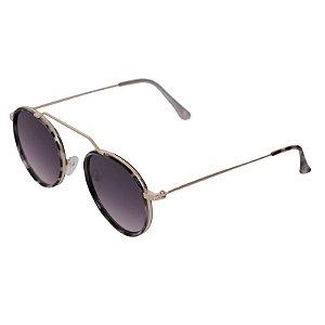 Óculos de sol redondo - Gramado - Tartaruga/degradê azul