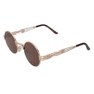 Óculos de sol redondo - Pequi - Dourado/marrom