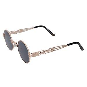 Óculos de sol redondo - Pequi - Dourado/preto