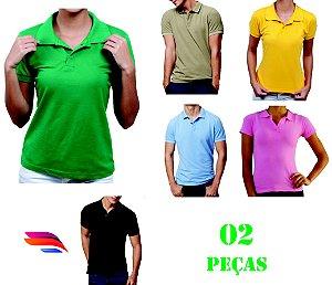 41f7696e18 Kit com 02 Camisas Pólo Pique - Personalizada - Tamanhos (P-M-G-GG) - zoom