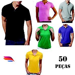 8c60b005d1 Kit com 50 Camisas Pólo Pique - Personalizada - Tamanhos (P-M-G-GG) - zoom