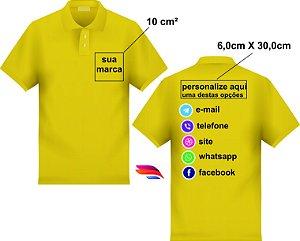 d6e0ab8c24 Kit com 50 Camisas Pólo Pique - Personalizada - Tamanhos (P-M-G-GG) - 2  Bordados - Peito 10cm² e Costas 06x30cm