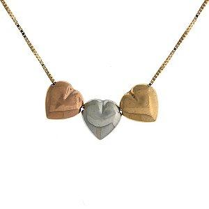 Gargantilha coração tricolor em ouro amarelo 18k - PC 5.78