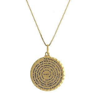 Pingente Medalha Pai Nosso em Ouro Amarelo 18k - PC 7.35