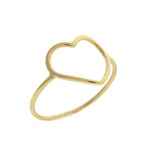 Anel Coração com aro fino em Ouro Amarelo 18k - PC - 2.63