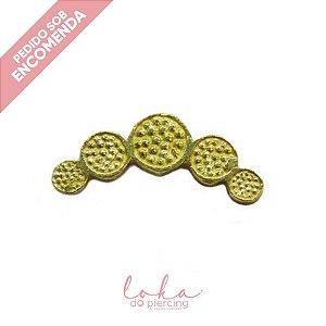 Piercing Labret Cluster Martelado 5 Discos - Ouro 18k