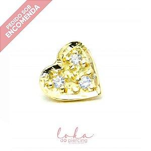 Piercing Labret Coração com Zircônias - Ouro 18k