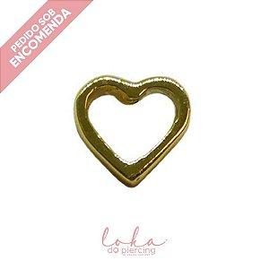 Piercing Labret Coração Vazado - Ouro 18k