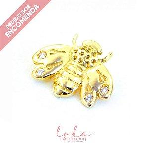 Piercing Labret Abelha com Zircônias - Ouro 18k