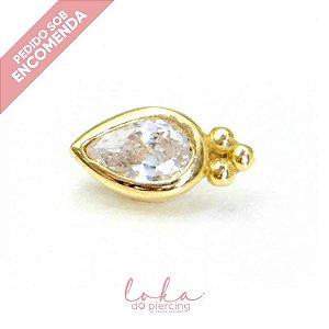 Piercing Labret Gota com Zircônia Ornamental - Ouro 18k