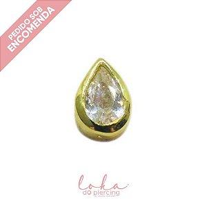 Piercing Labret Gota com Zircônia - Ouro 18k