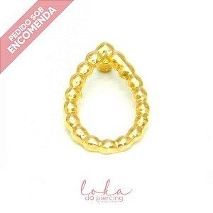 Piercing Labret Gota de Esferas - Ouro 18k
