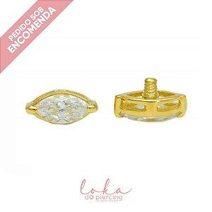 Piercing Labret Navet Solitário - Ouro 18k
