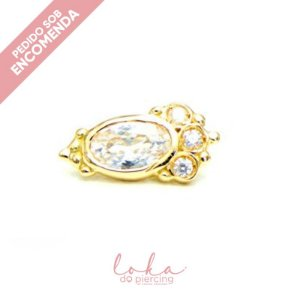 Piercing Labret Ornamental Grande - Ouro 18k