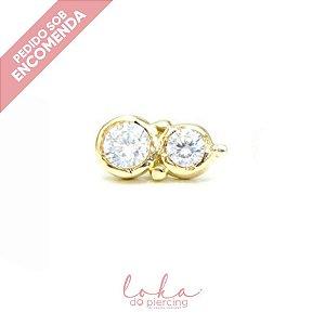 Piercing Labret Ornamental Cristal Duplo - Ouro 18k