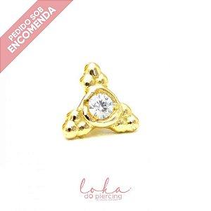 Piercing Labret Ornamental Triplo - Ouro 18k