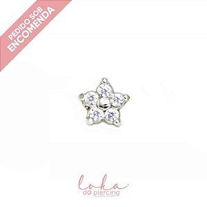Piercing Labret Flor com Zircônias - Ouro 18k