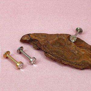 Piercing Labret com Cristal Flat - Aço Cirúrgico